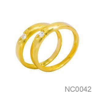 Nhẫn Cưới Vàng Vàng 18k Đính Đá CZ - NC0042