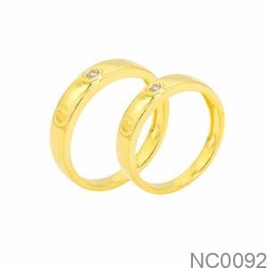 Nhẫn Cưới Vàng Vàng 18k Đính Đá CZ - NC0092