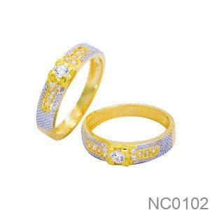 NC0102-1 Nhẫn cưới vàng 18k 2 màu đẹp