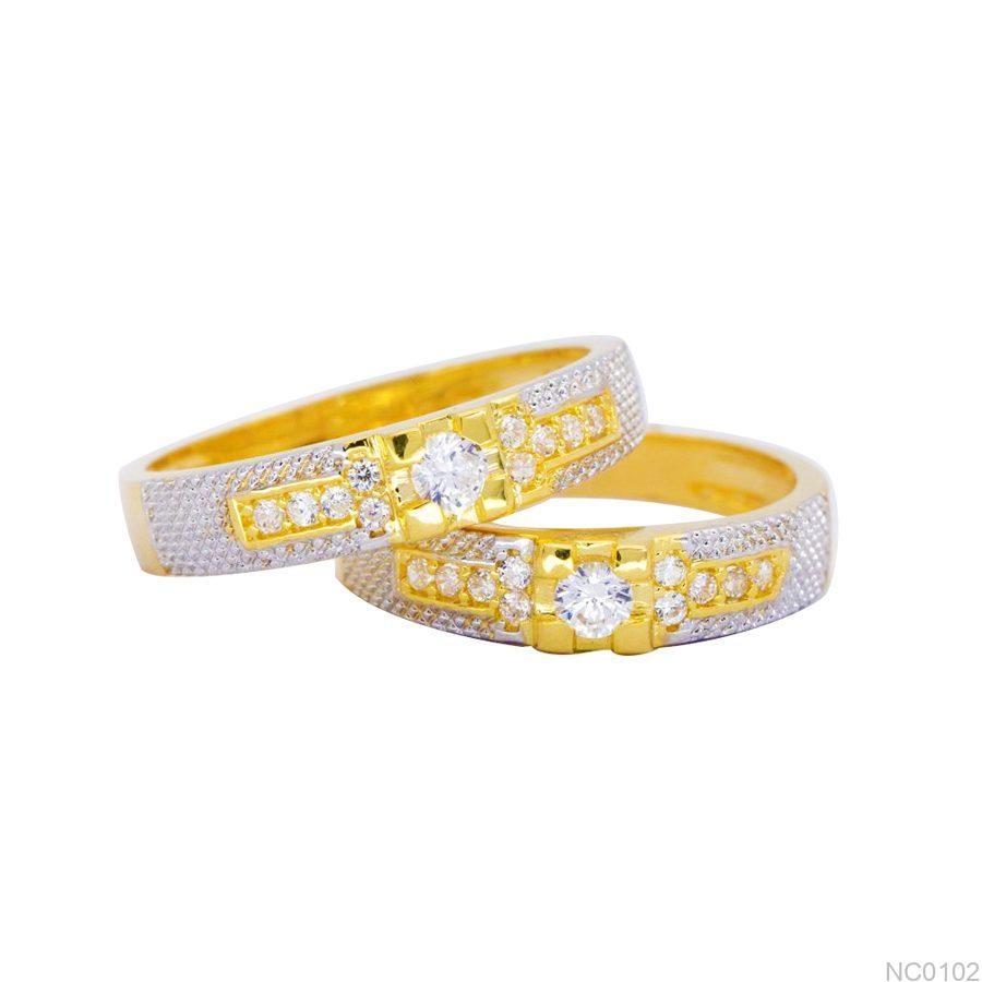 NC0102-2 Nhẫn cưới vàng 18k 2 màu đẹp