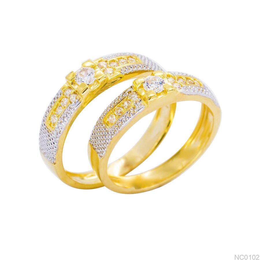NC0102 Nhẫn cưới vàng 18k 2 màu đẹp