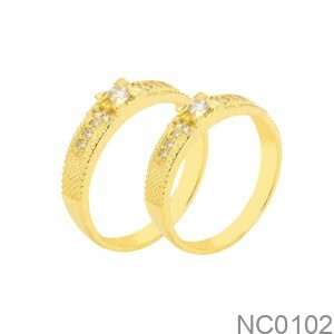 Nhẫn Cưới Vàng Vàng 18k Đá Trắng - NC0102