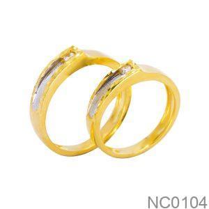 Nhẫn Cưới Hai Màu Vàng 18k Đính Đá CZ - NC0104