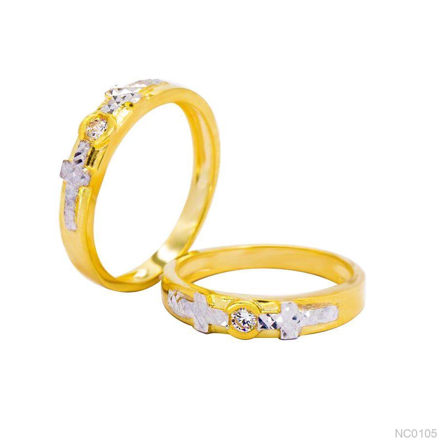 NC0105-1 Nhẫn cưới 2 màu Thiên Chúa vàng 18k