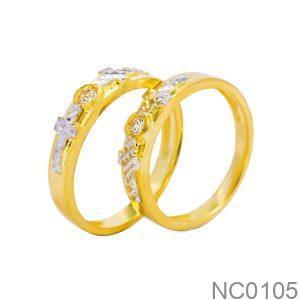 NC0105 Nhẫn cưới 2 màu Thiên Chúa vàng 18k