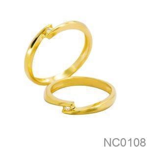 Nhẫn Cưới Vàng Vàng 18k Đính Đá CZ - NC0108