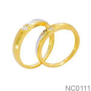 Nhẫn Cưới Vàng Vàng 18k Đá Trắng - NC0111