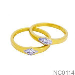 Nhẫn Cưới Hai Màu Vàng 18k Đính Đá CZ - NC0114