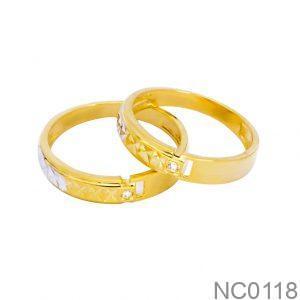 Nhẫn Cưới Hai Màu Vàng 18k Đính Đá CZ - NC0118