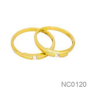 Nhẫn Cưới Vàng Vàng 18k Đính Đá CZ - NC0120