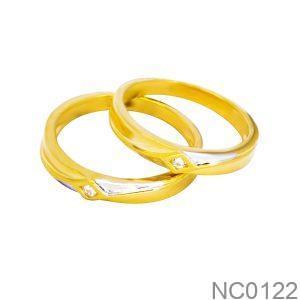 Nhẫn Cưới Hai Màu Vàng 18k Đính Đá CZ - NC0122