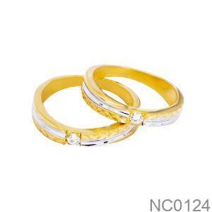 Nhẫn Cưới Hai Màu Vàng 18k Đính Đá CZ - NC0124