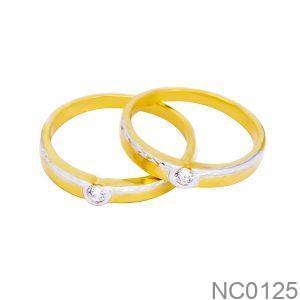 Nhẫn Cưới Hai Màu Vàng 18k Đính Đá CZ - NC0125