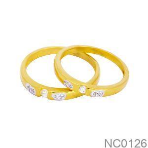 Nhẫn Cưới Vàng Vàng 18k Đính Đá CZ - NC0126