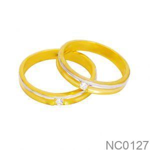 Nhẫn Cưới Hai Màu Vàng 18k Đính Đá CZ - NC0127