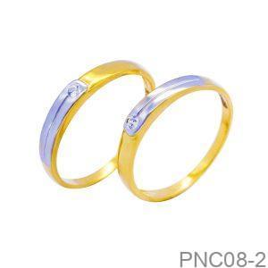 Nhẫn Cưới Hai Màu Vàng 18k Đính Đá CZ - PNC08-2