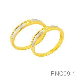 Nhẫn Cưới Hai Màu Vàng 10K Đính Đá CZ - PNC09-1