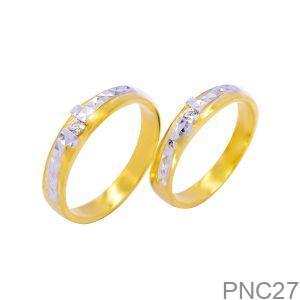 Nhẫn Cưới Hai Màu Vàng 18k Đính Đá CZ - PNC27