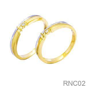 Nhẫn Cưới Hai Màu Vàng 18k Đính Đá CZ - RNC02