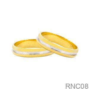 Nhẫn Cưới Hai Màu Vàng 10K Đính Đá CZ - RNC08