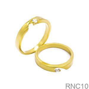 Nhẫn Cưới Vàng Vàng 18k Đính Đá CZ - RNC10