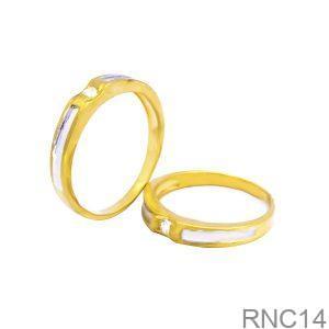 Nhẫn Cưới Hai Màu Vàng 18k Đính Đá CZ - RNC14