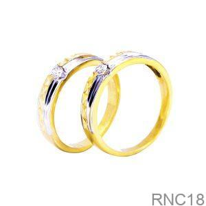 Nhẫn Cưới Hai Màu Vàng 18k Đính Đá CZ - RNC18