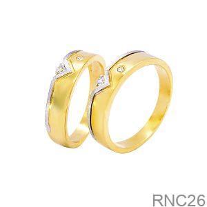 Nhẫn Cưới Hai Màu Vàng 18k Đính Đá CZ - RNC26