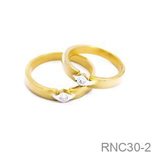 Nhẫn Cưới Vàng Vàng 18k Đính Đá CZ - RNC30-2