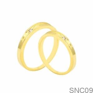 Nhẫn Cưới Vàng Vàng 18k Đá Trắng - SNC09