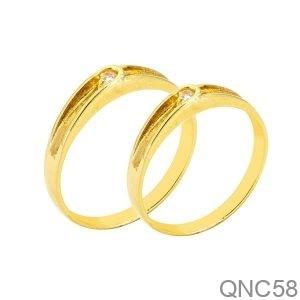 Nhẫn Cưới Vàng Vàng 18K Đính Đá CZ - QNC58