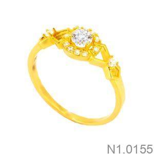 Nhẫn Đính Hôn Vàng Vàng 18k Đá Trắng - N1.0155