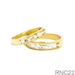 Nhẫn Cưới Hai Màu Vàng 18k Đính Đá CZ - RNC22
