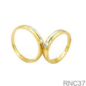 Nhẫn Cưới Hai Màu Vàng 10k Đính Đá CZ - RNC37