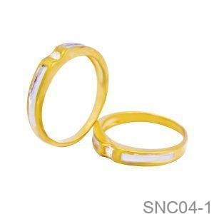 Nhẫn Cưới Hai Màu Vàng 18K Đính Đá CZ - SNC04-1