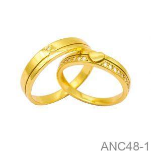Nhẫn Cưới Vàng Vàng 18k Đính Đá CZ - ANC48-1