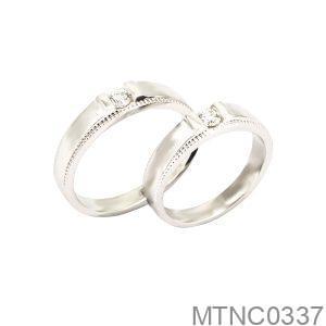 Nhẫn Cưới Vàng Trắng 10k Đính Đá CZ - MTNC0337
