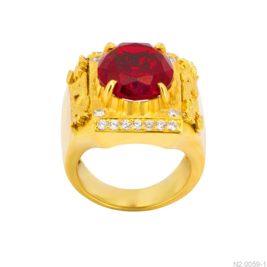 Nhẫn Nam Vàng Vàng 14K Đính Đá CZ - N2.0059-1