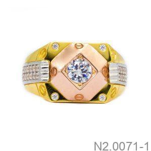 Nhẫn Nam Vàng Vàng 10k Đính Đá CZ - N2.0071-1