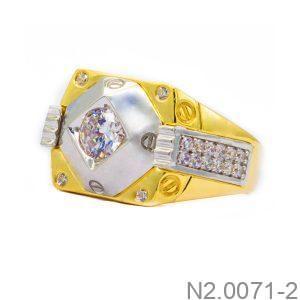 Nhẫn Nam Vàng Vàng 10k Đính Đá CZ -  N2.0071-2