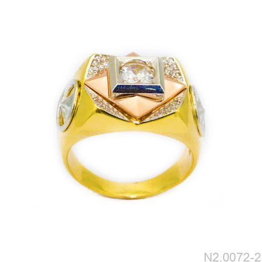 Nhẫn Nam Vàng Vàng 10k Đính Đá CZ - N2.0072-2