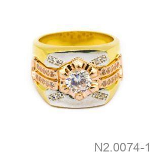 Nhẫn Nam Vàng Vàng 10k Đính Đá CZ - N2.0074-1