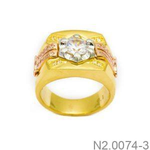Nhẫn Nam Vàng Vàng 10k Đính Đá CZ - N2.0074-3