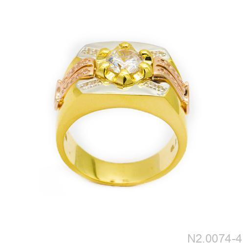 Nhẫn Nam Vàng Vàng 10K Đính Đá CZ - N2.0074-4
