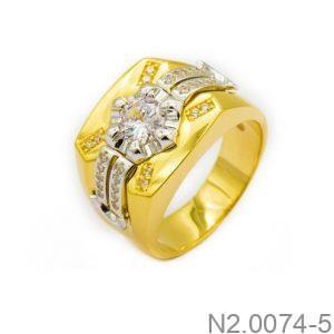 Nhẫn Nam Vàng Vàng 10K Đính Đá CZ - N2.0074-5