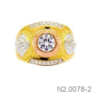 Nhẫn Nam Vàng Vàng 10K Đính Đá CZ - N2.0078-2