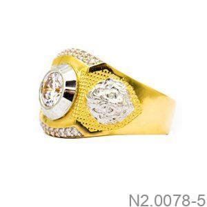 Nhẫn Nam Vàng Vàng 10K Đính Đá CZ - N2.0078-5