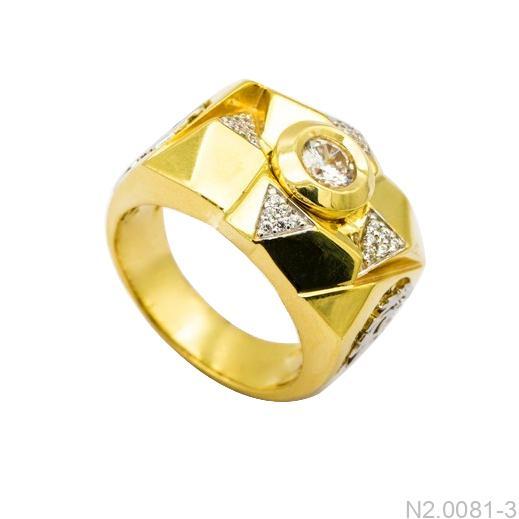Nhẫn Nam Vàng Vàng 10K Đính Đá CZ - N2.0081-3