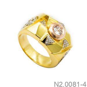Nhẫn Nam Vàng Vàng 10K Đính Đá CZ - N2.0081-4