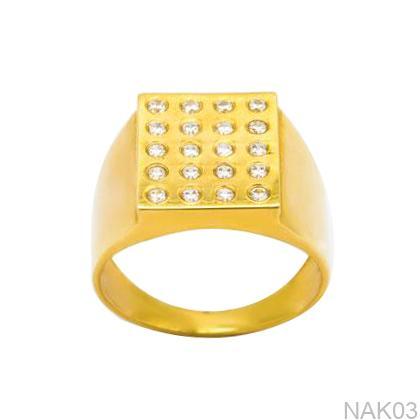 Nhẫn Nam Vàng Vàng 18k Đính Đá CZ - NAK03